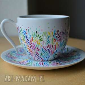 ceramika filiżanka ceramiczna ręczne malowana multikolor, filiżanka