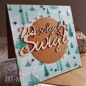 kartka wesołych świąt - choinki, święta, kartka, scrapbooking, gwiazdka, prezent