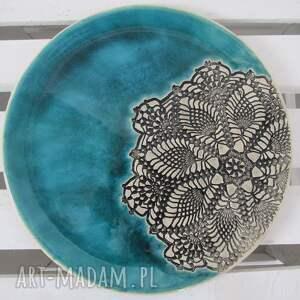 handmade ceramika turkusowa patera z koronką