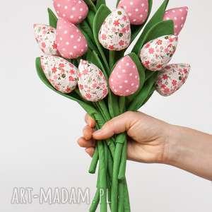 handmade dekoracje tulipany z materiału bukiet tulipanów pastelowy róż 12 szt