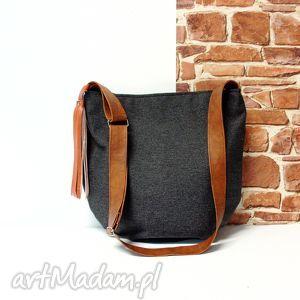 long hobo, torba, handmade, szara, listonoszka, wygodna, szyta