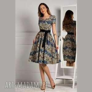 unikalny, sukienka anita midi annika, midi, rozkloszowana