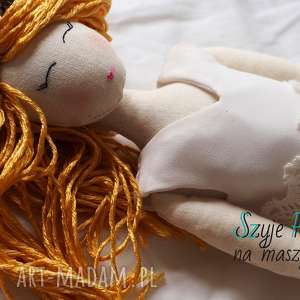 Lalka #163, przytulanka, personalizowana, złotowłosa, panna-młoda, szmacianka, tilda