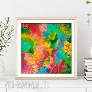 abstrakcyjny obraz ręcznie malowany - happy life 30x30