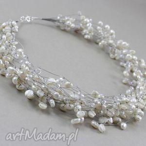 perły i kryształki w oplocie - piękny naszyjnik - perły, naturalne, srebro