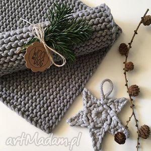 handmade pod choinkę komplet podkładek stołowych ze sznurka