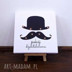 świecący obraz led wąsy prezent dla chłopca lampa gentleman retro, wąsy, melonik