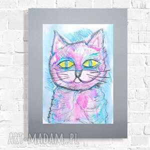 kot rysunek, obraz, oryginalna grafika z kotem, malowany ręcznie obraz akwarela