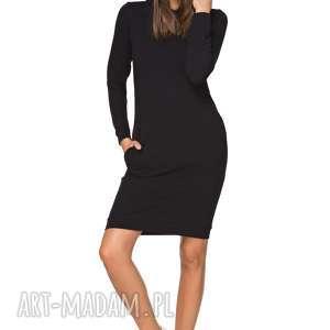 sportowa sukienka z kapturem t214, czarny bordo, sukienka, sportowa, kaptur