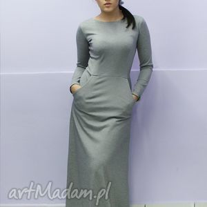 ręcznie robione sukienki maxi popiel melanż rozm. 38