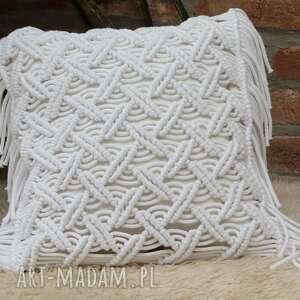 poduszki dekoracyjna poduszka lniana z ozdobną makramą, poduszka, ozdobna