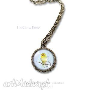 medalion, naszyjnik - Śpiewający ptaszek - mały - antyczny brąz