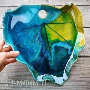 ceramika zamówienie dla p roberta, liść, patera, paleta, talerz, ceramiczny
