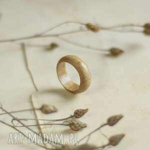 obrączki duża obrączka z egzotycznego drewna tekowego, obrączka, męska