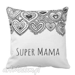 poduszka dekoracyjna serca dla super mamy mama 6506, poduszka, dekoracyjna, dzień