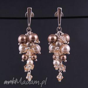 Kolczyki grona ecru - ,kolczyki,grona,swarovski,perły,srebro,