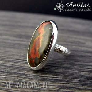 Srebrny pierścionek z marokańskim agatem, rozmiar 17, srebro, agat w srebrze