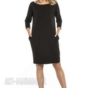 Luźna sukienka z kieszeniami, T247, czarny, luźna, sukienka, szeroki, fason