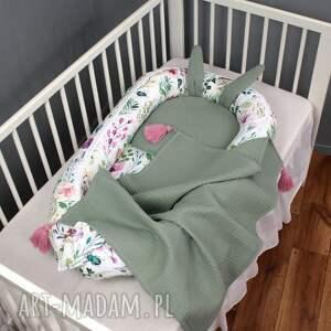dla dziecka kokon wafelkowy zestaw niemowlęcy polne kwiaty 3el szałwia