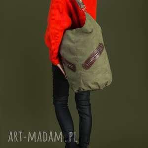 kofi - duża torba worek ciemnozielona, worek, pojemna, duża, niebanalna, prezent