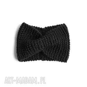 opaska retro czarna robiona na drutach, wełniana, uszy