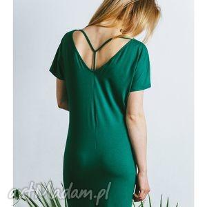 sukienka y zielona, sukienka, dzianina, dzianinowa, wiosenna, tunika, plecy