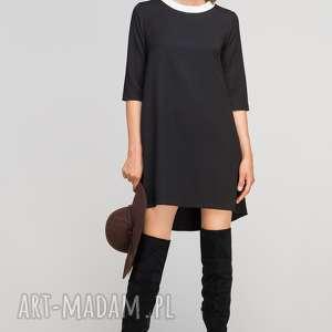 Sukienka z dłuższym tyłem, SUK148 czarny, casual, eleganckie, rozkloszowana