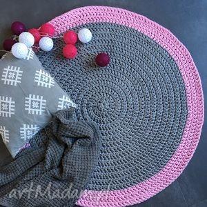 dywany dywan ze sznurka bawełnianego szary z różem 100 cm, dywan, chodnik, crochet