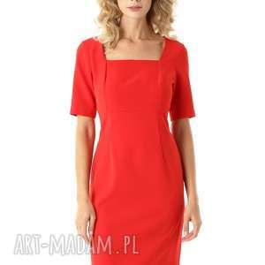 sukienki dopasowana sukienka z kwadratowym dekoltem roxie czerwona, elegancka
