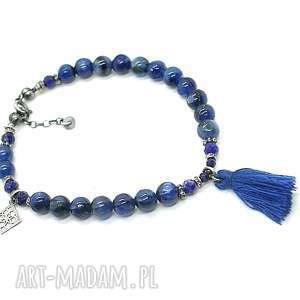 boho -kyanit - bransoletka, srebro oksydowane, kyanit, szafir, lapis lazuli