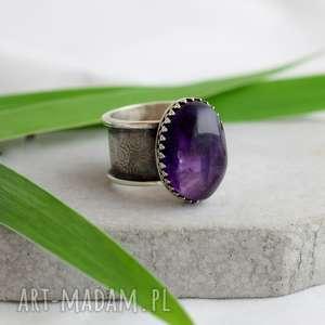 jego wysokość ametyst, pierścień, srebro, unikatowy, prezent, minerały