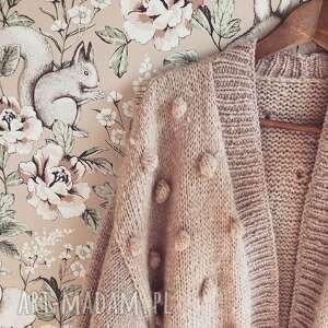 swetry sweter z alpaki, sweter, kardigan, na drutach, bąbelki, styl boho