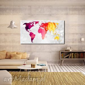 obraz mapa świata -dms5 - 120x70cm na płótnie, mapa, obraz,