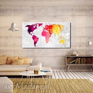 obraz mapa świata -dms5 - 120x70cm na płótnie, mapa, obraz, świata