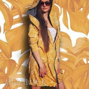 ręcznie zrobione bluzy długa bluza oversize z motywem liści na żółtym tle, ogromny