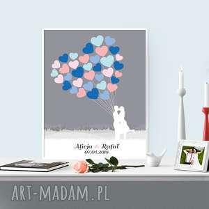 romantyczny, weselny plakat wpisów - 40x50 cm, ślub, plakat, baloniki, para