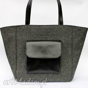Prezent Shopper bag Worek - tkanina antracyt i skóra czarna, elegancka, nowoczesna