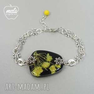 0526~mela~ bransoletka kwiaty w żywicy - żółte, bransoletka, kwiaty, żywica, epoksyd