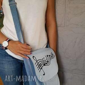 Torebka z jasnego Jeansu Listonoszka w NUTKI, torba, torebka, jeans, dżins