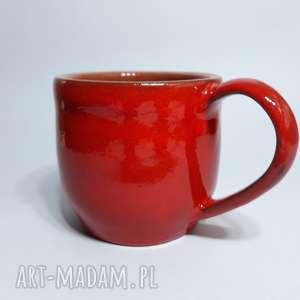 Kubek czerwony, kubek, ceramika, glina, rękodzieło