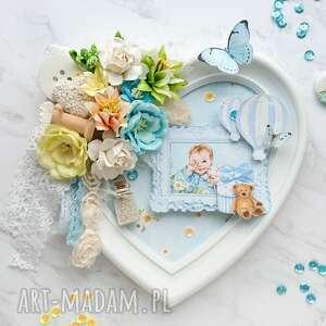 ręcznie robione pokoik dziecka ramka do pokoju dziecięcego niebieska