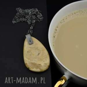 beżowy bursztyn - oksydowany naszyjnik srebro, kawa