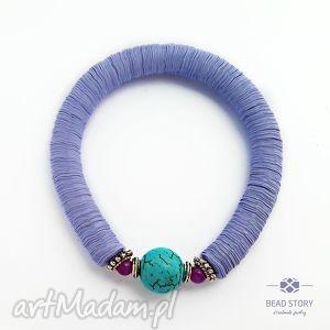 bransoletki elastyczna bransoletka jasno fioletowa z turkusem, wygodna,