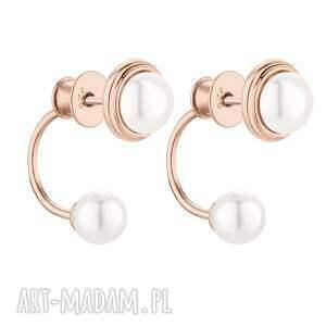 kolczyki z różowego złota z perłami swarovski® crystal
