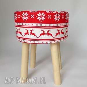 fjerne m czerwony świąteczny jelonek - taboret w skandynawskim stylu, dom, puf