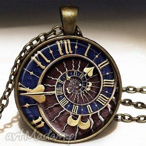 steampunk - duży medalion z łańcuszkiem - naszyjnik, spirala