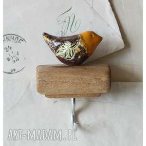 wieszaki wieszaczek z brązowym ptaszkiem, ceramika, wieszak, ptak