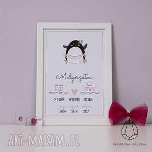 metryczka pingwin - metryczka, plakat, obrazek, prezent, urodziny, chrzest