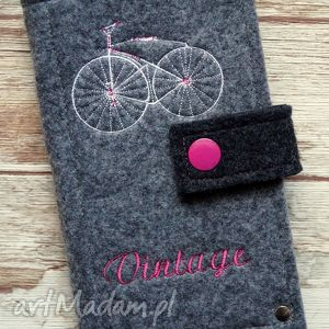 Prezent Filcowe etui na telefon - Vintage Bike, etui, smartfon, retro, rower, kropki
