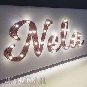 obraz led neon imię brokatowy różowy dla dziewczynki personalizowany prezent na